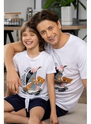 Katia & Bony Teddy Bear Baskılı Erkek şortlu Pijama Takımı - Beyaz Beyaz
